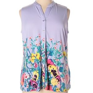 Lilac Purple Floral Sleeveless Top